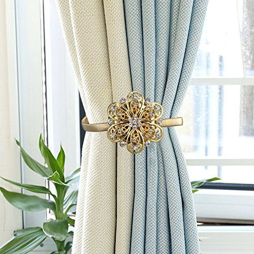 Nanami Chic One Pair Curtain Clips Attraction Appliance Curtain Buckle Magnetic Tieback Creative Diamond Curtain Bind (Gold) by Nanami Chic