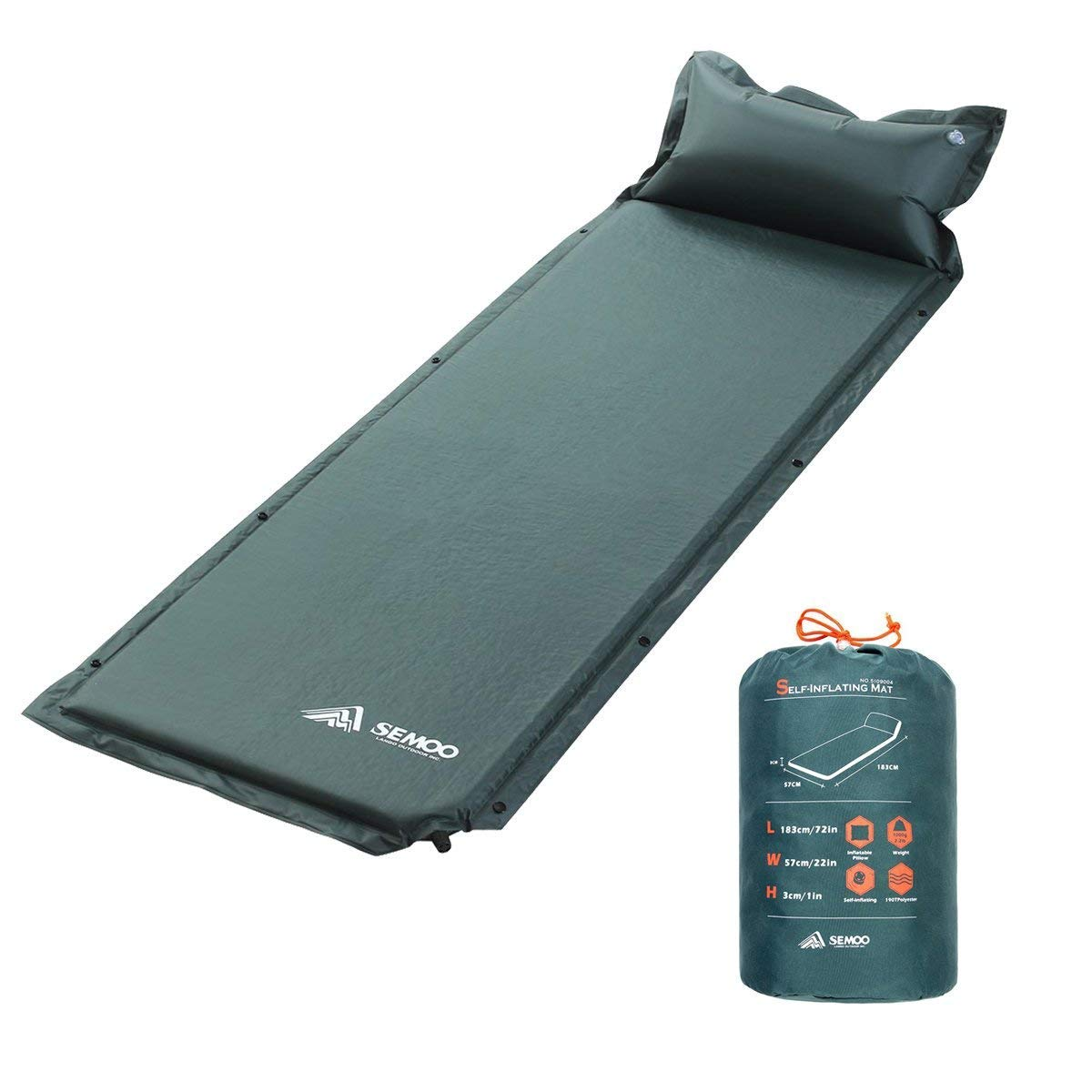 SEMOO Self-Inflating Camping Sleeping Mat/pad, 190T Polyester, Water Repellent Coating, with Attached Inflatable Pillow by SEMOO