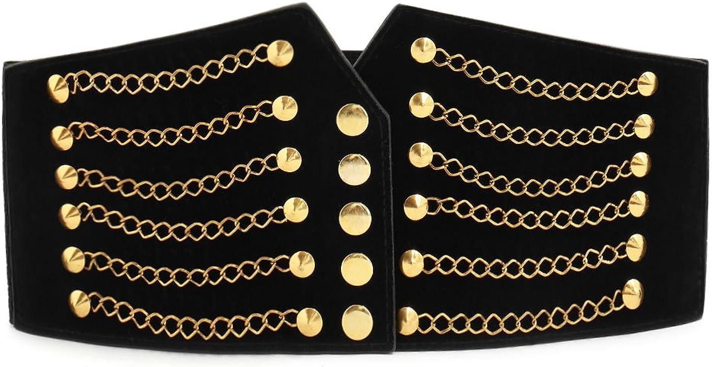 uxcell Women Ultra Super Wide Elastic PU High Waist Belt Rivet Chains Cinch Waistband for Dresses