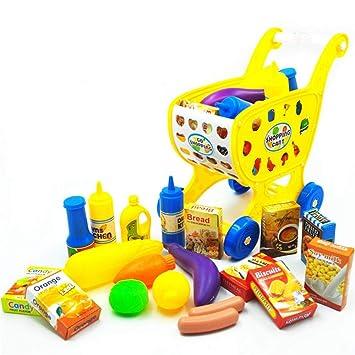 AOLVO Carrito de la Compra Infantil, Carro de Supermercado con Frutas y Verduras Juguete para Cortar, Incluyendo Botellas de Condimento/Hortalizas/Cartones, ...
