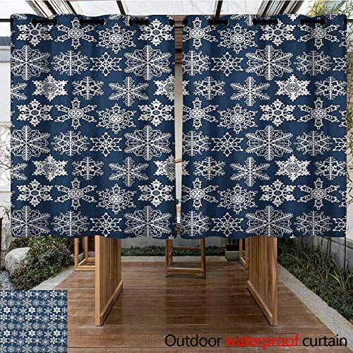 AndyTours Pergola Curtain,Snowflake,Crochet Style White Motifs of Winter on Dark Background Traditional Designs,for Patio/Front Porch,K183C115 Navy Blue White