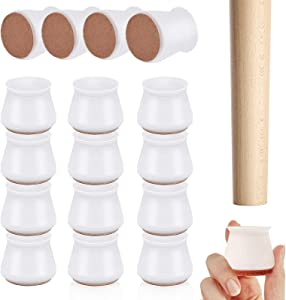 VARWANEO Upgraded 16PCS Silicone Chair Leg Floor Protector, Furniture Leg Caps with Anti-Slip Felt Pads, Move Quietly Furniture Foot Protection Cover Prevents Scratches and Noise
