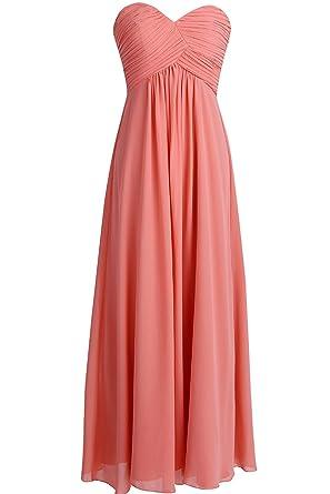 Tiaobug Damen Kleider elegant Abendkleid festlich Hochzeit Cocktailkleid  Chiffon Faltenrock Langes Brautjungfernkleid Gr. 34-46  Amazon.de   Bekleidung 4a8c4ac32a