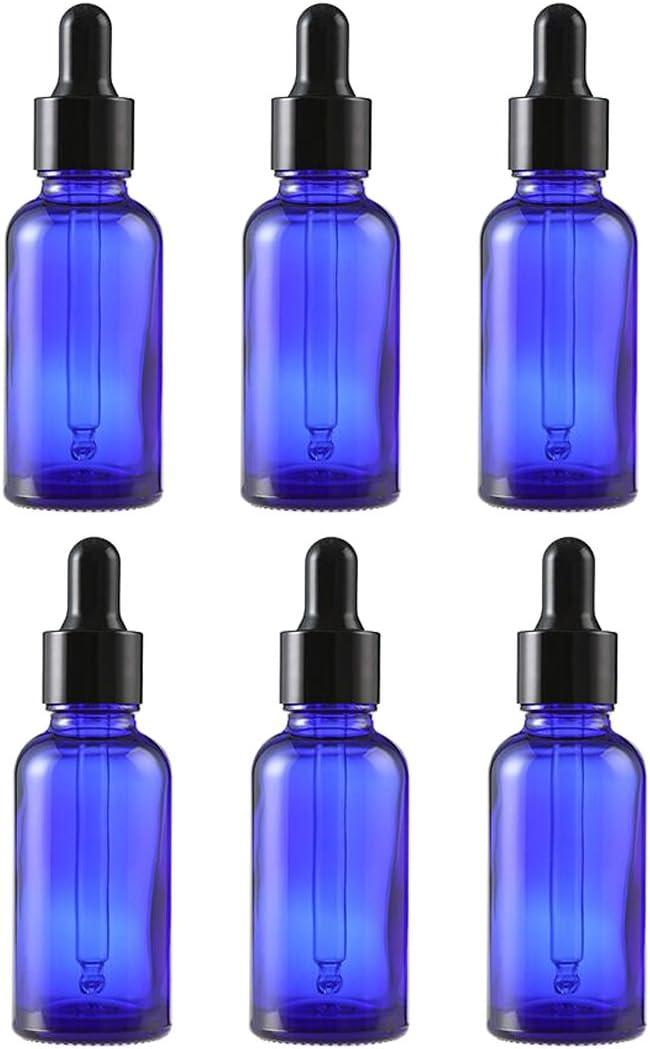 6PCS Azul Vidrio del Aceite Esencial Frascos Botella Frasco cuentagotas con Tapa Negra Maquillaje Frasco cosmético envase de contenedores para aromaterapia Perfume (15ml/0.5oz)