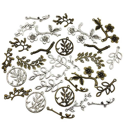 100g Craft Supplies Mixed Leaf Branch Connector Pendants Beads Charms Pendants for Crafting, Jewelry Findings Making Accessory For DIY Necklace Bracelet (Branch Connector Charms M90)