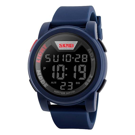 los deportes de los hombres del agua del reloj digital resistente a la 164 pies de alarma cronómetro de silicona azul banda de goma reloj de pulsera: ...