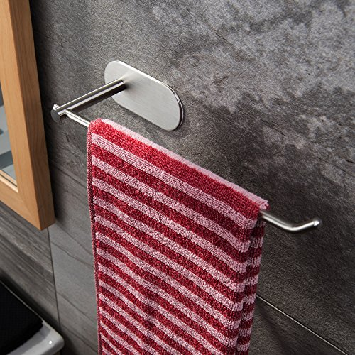 Taozun Self Adhesive Towel Bar 11-Inch Hand Dish Towel Rack Stick on Towel Holder for Bathroom Kitchen, No Drilling SUS 304 Stainless Steel ()