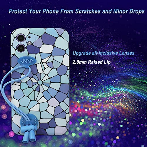 SEENCER iPhone 11 Case with Strap, SoftTPU Silicone Protective Phone Cover Hand Wrist Strap Casefor iPhone 11 6.1 Inch(Blue Marble)