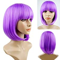 Short Bob Wigs With Straight Bangs 12Inch Short Synthetic Fiber Bob Wigs for Women Short Bob Wigs and Black Color Bob Wig With A Free Wig Cap(Purple)