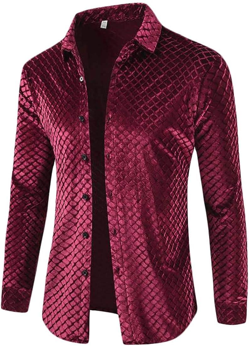 Hajotrawa Mens Business Lapel Neck Velvet Curved Hem Button Down Shirts