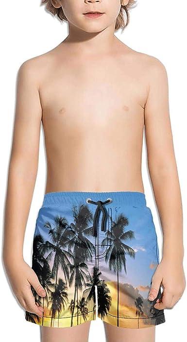 Men Beach Shorts Beaches Palm Trees Sunset Quick Dry Swimming Trunks Drawstring Waist Board Shorts