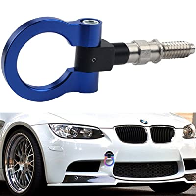 Dewhel JDM Aluminum Track Racing Front Rear Bumper Guard Car Accessories Auto Trailer Ring Hook Eye Towing Tow Hook Kits Anodized Blue Screw On For BMW 1 3 5 Series X5 X6 E36 E39 E46 E82 E90 E91 E92 E93 E70 E71 MINI Cooper: A