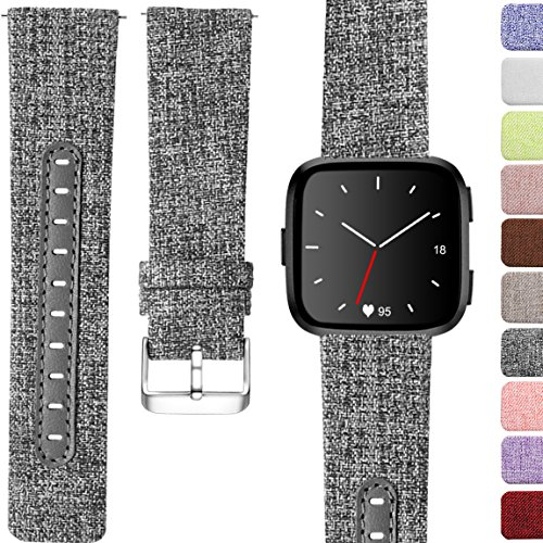 Maledan Bands for Fitbit Versa, Replacement Band, Small, Charcoal
