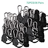 TopoGrow 72PCS/36 Pairs Rope Ratchet Grow Light hangers YoYo Hangers 1/8'' 150lb (72PCS/36 Pairs)