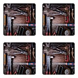 Ambesonne Industrial Coaster Set of Four, Crafting