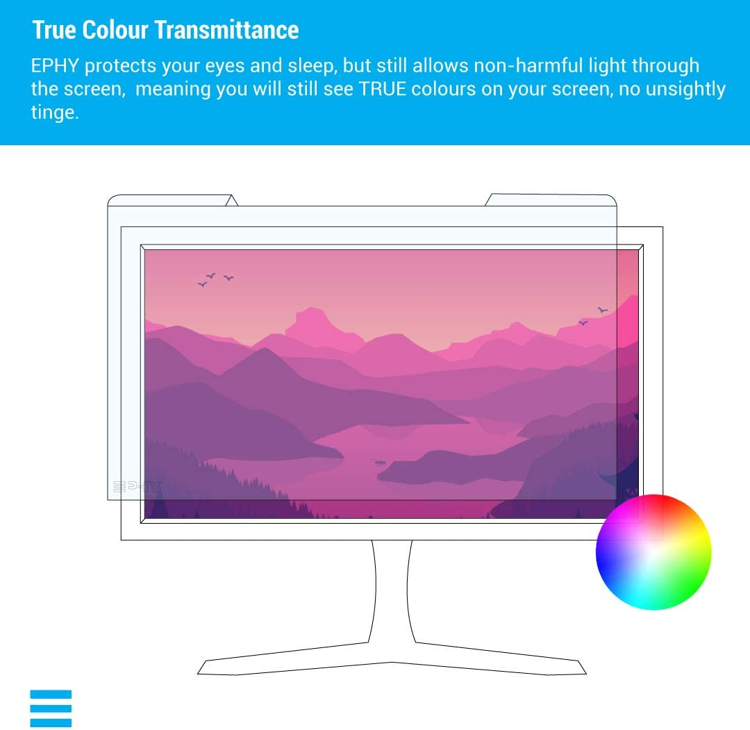 Blue Blocking Computer Monitor Screen Protector for Eyes EPHY Anti Blue Light Screen Protector Filter 23 to 24 Inches Easy On//Off Removable