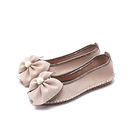 a8781d5c1 Image Unavailable. Image not available for. Color: LingGT Pearl Ballet Flats  Women Knot Metal Faux Suede ...