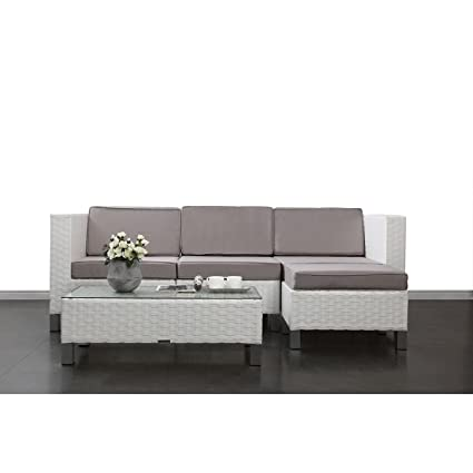 Miliboo - Conjunto HAWAI- 2 sillones esquineros y 1 sillón central, 1 mesa de salón y 1 puf
