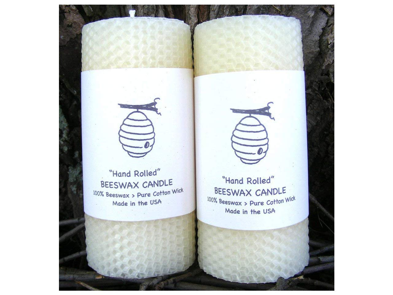 Edinboro Creations 100% Beeswax Pillar Candles - Set of Two - 5.5'' Pillars - White (Ivory) Beeswax