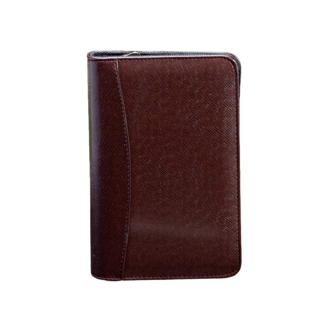 STOBOK 2Pcs Zippered Portfolio Binder Pu Leather Cover A5 Notebook Interview Resume Document Organizer with Calculator