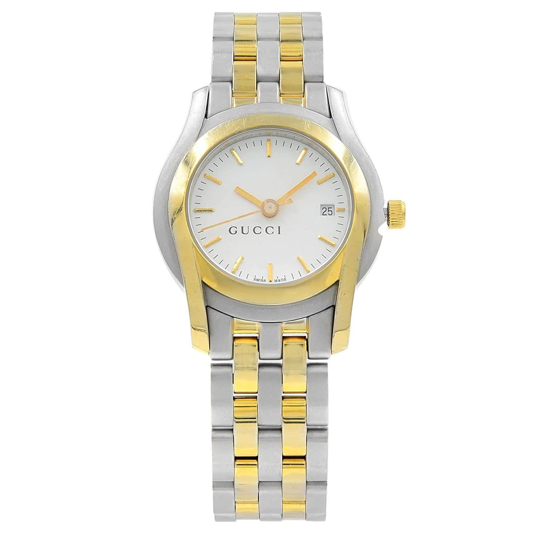 cdcdbb9446f Amazon.com  Gucci 5500L White Sticks Dial Two Tone Steel Quartz Ladies  Watch YA055528  Jewelry