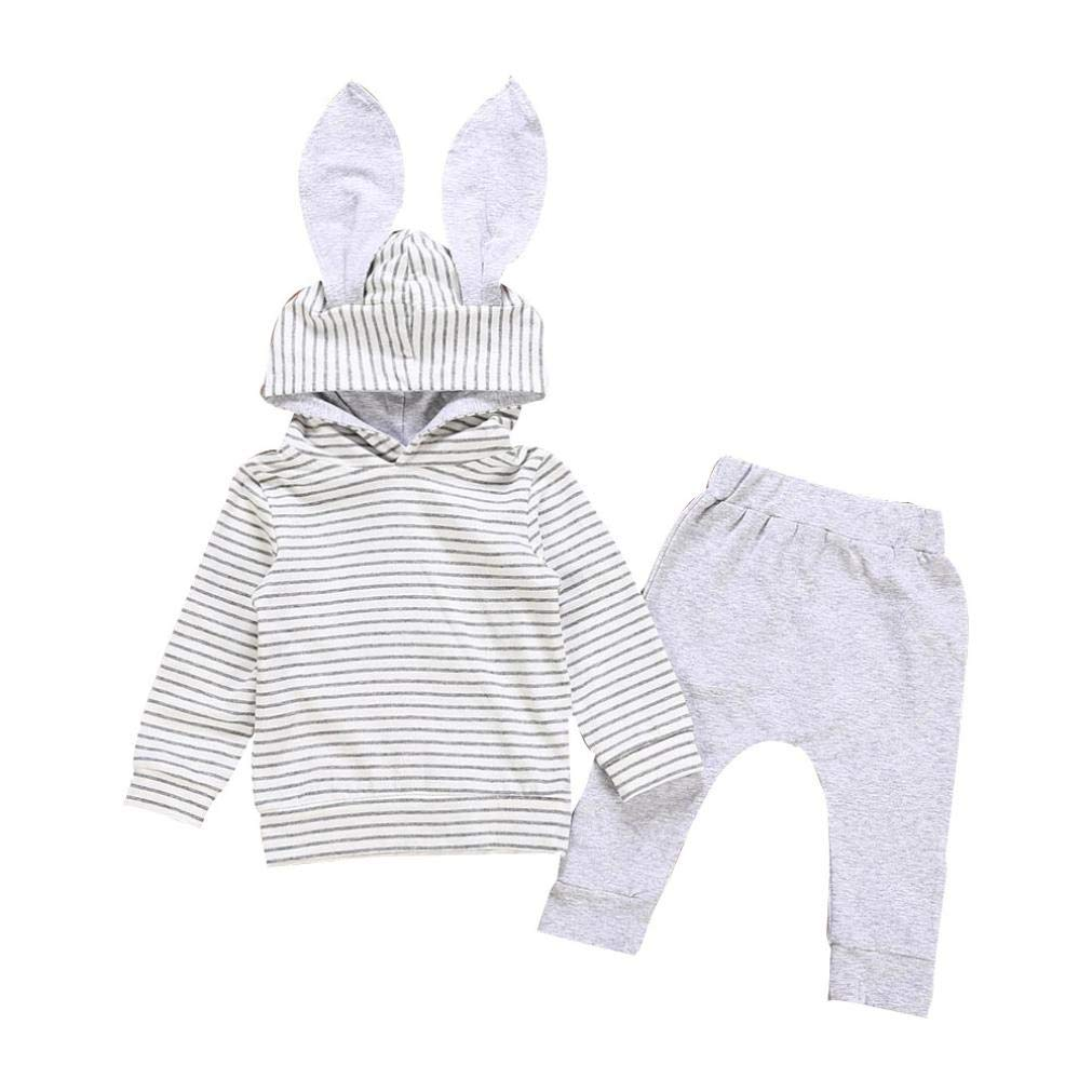 LNGRY Baby Clothes,Toddler Infant Girls Boys 3D Bunny Rabbit Ear Striped Hooded Sweater Tops+Pants Outfit