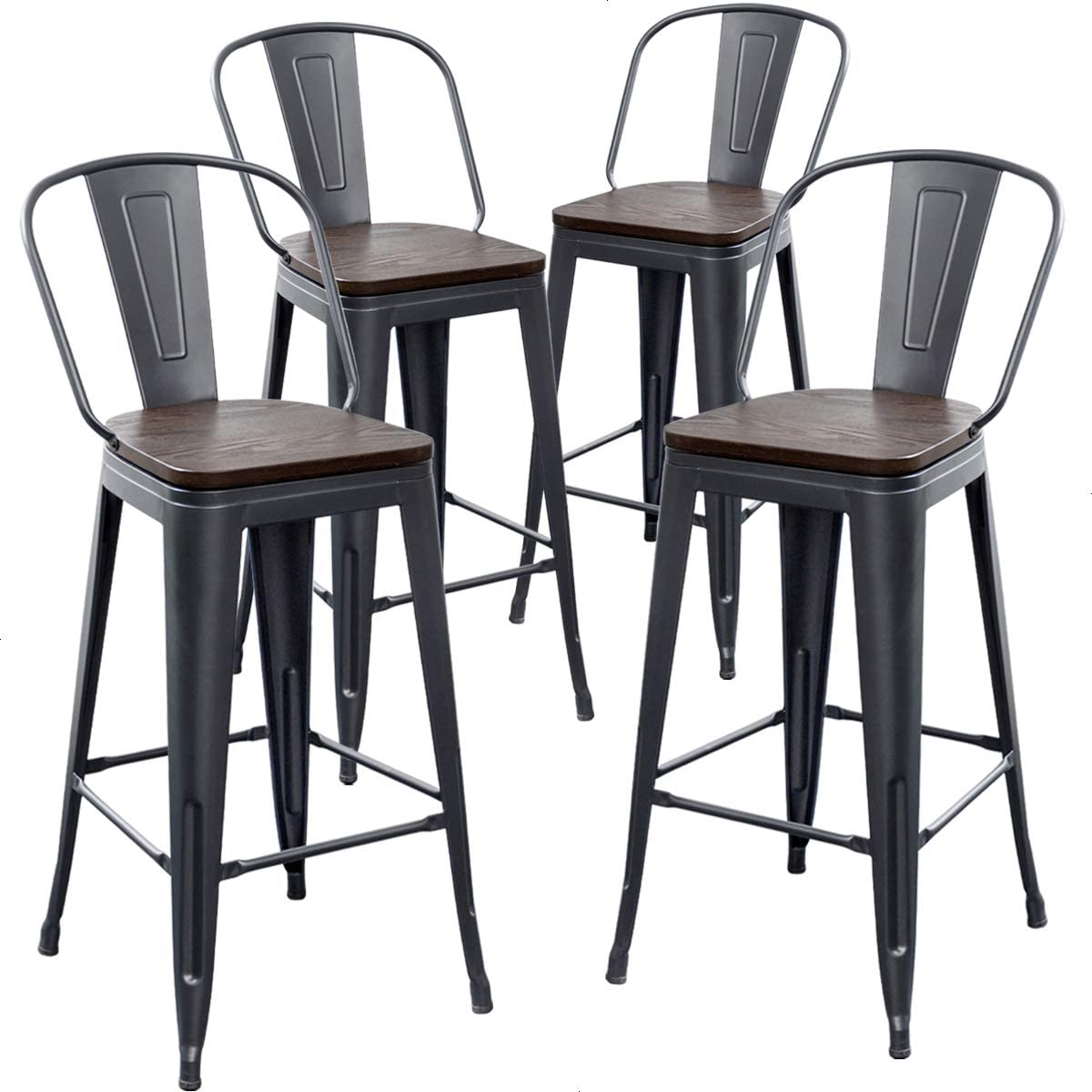 TONGLI Counter Height Stool with Backs Counter Stools Metal Bar Stools Set of 4 Dining Kitchen Chairs High Back 30 Inches Bar Chairs Stools Matte Black