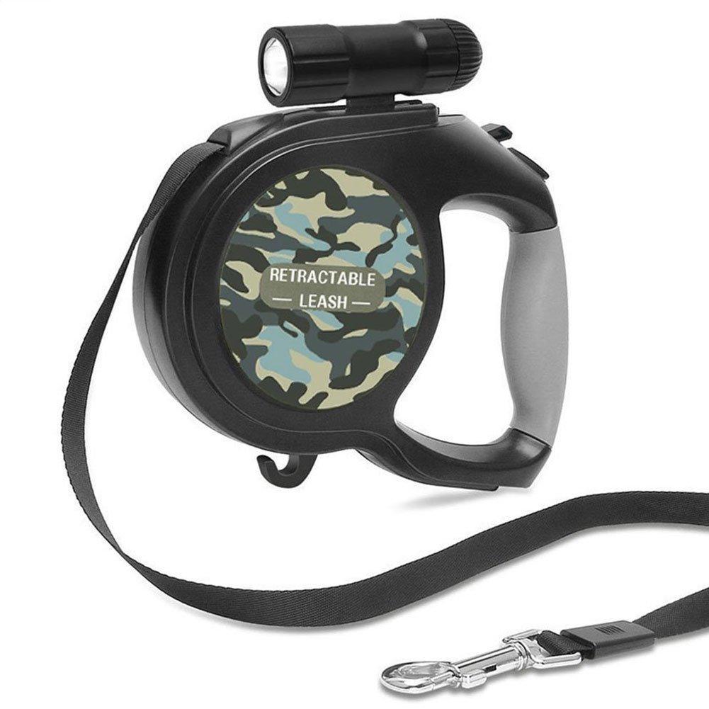 Newthinking Laisse rétractable pour chien, extensible Marche Laisse pour chien avec lampe torche à LED, crochet de verrouillage de la poignée de frein, 1bouton et ergonomique confortable et