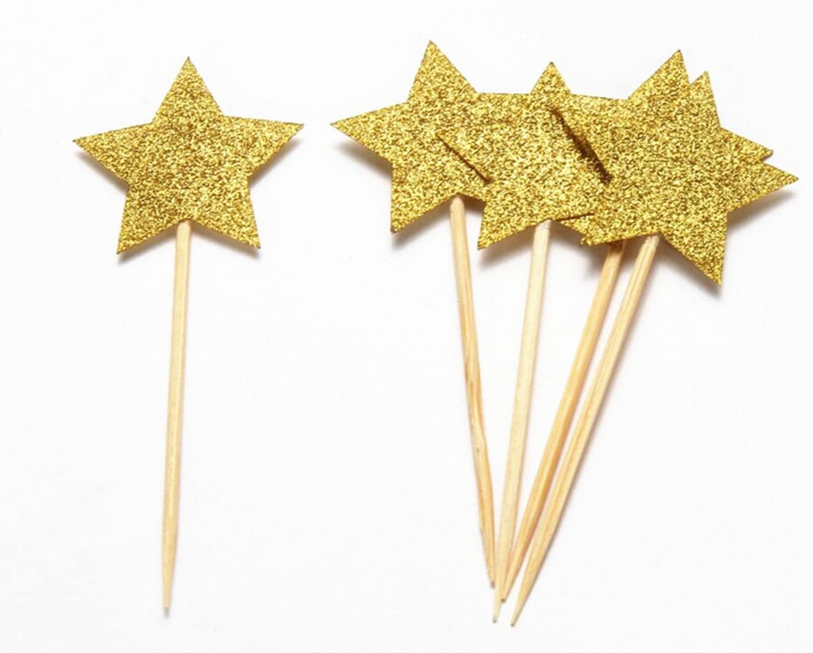 Mefuny 40 Pieces Gold Little Star Cupcake Toppers ,Food Picks Baby Shower Decor and Cupcake Party Picks