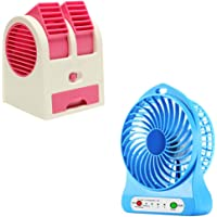 Lambent Portable Electric Cooling Rechargeable USB Mini Fan with Dual Bladeless Small Air Conditioner (Multicolour, Portable.Fan+Mini.Cooler)