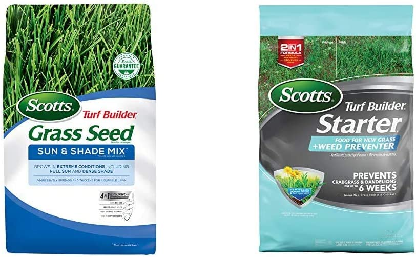 Scotts Turf Builder Grass Seed Sun and Shade Mix, 40 lb. - Full Sun and Dense Shade - Seeds up to 16,000 sq. ft. & Turf Builder Starter Food for New Grass Plus Weed Preventer (10,000 sq. ft.)