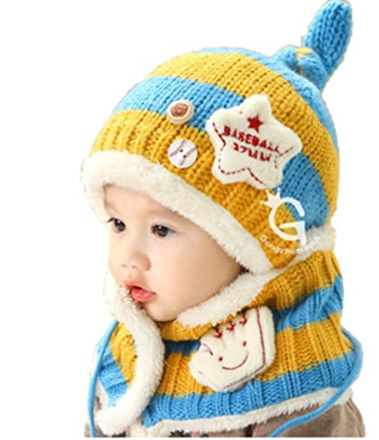 bf02d7c6a6926 (ハナハナ) HANAHANA ニット帽 + マフラー ボタン付き レッグウォーマー ベビー キッズ 裏起毛