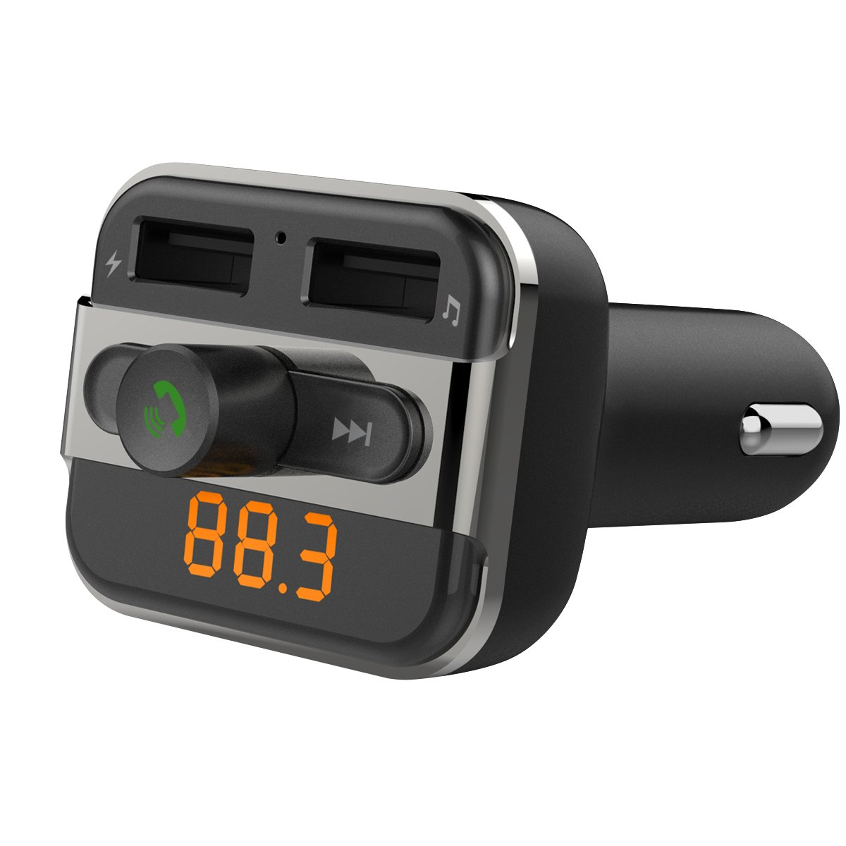 Perbeat BT20 Bluetooth Car FM Transmitter with Dual USB Charging,Music Controls & Hands-Free Calling for Apple iPhone 7, 6, 5, iPad, iPod, Samsung,LG,MP3 Players.Supports USB/Micro SD Card Black PBBT20black