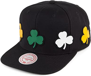Mitchell & Ness Boston Celtics Multi Logo Black Snapback: Amazon ...