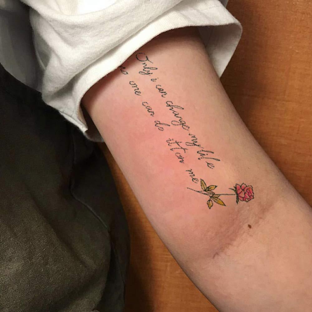 Oottati 2 Hojas Pequeño Lindo Tatuaje Temporal Tattoo Flor: Amazon ...