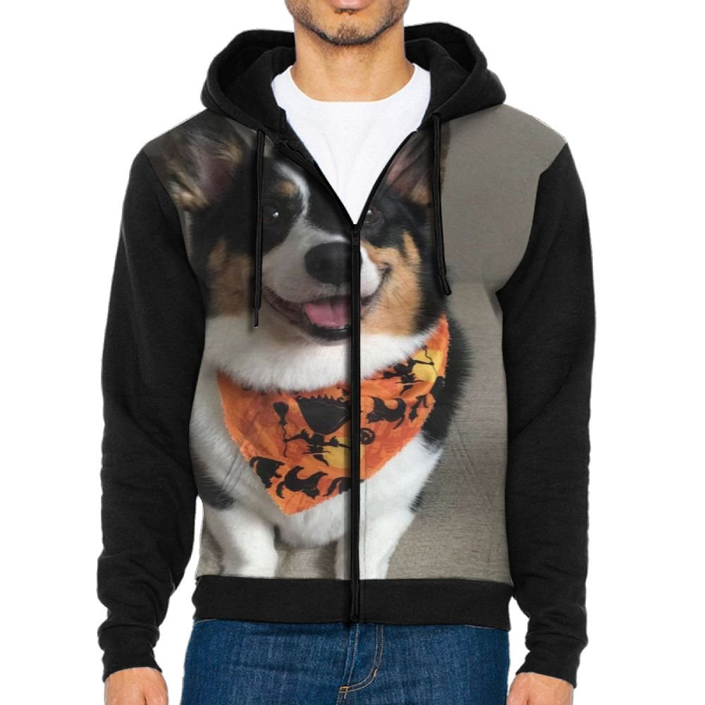 SESY Mens Hoodie Long Sleeve Sweatshirt Corgi Pembroke Cool Printed Hooded Pullover Pocket Black