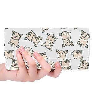 InterestPrint Cartera para mujer con diseño de perros, tripliegue, con embrague, ideal como