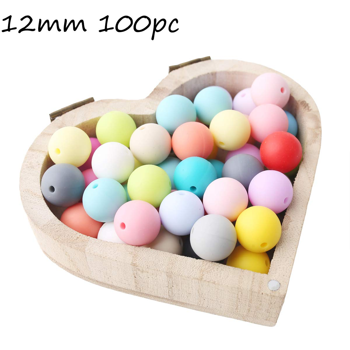 Baby Love Home 100pcs 12mm Loose Chewable Silicone Bead Baby Teether Mix Color DIY Teething Necklace Beads