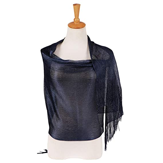 LIGHT WEIGHT SCARF WRAP EVENING WEAR ALL SEASON SOLID COLOR NAVY