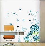 ufengke® Bluelover Bellissimi Fiori Blu e Farfalle Adesivi Murali, Camera da Letto Soggiorno Adesivi da Parete Removibili/Stickers Murali/Decorazione Murale