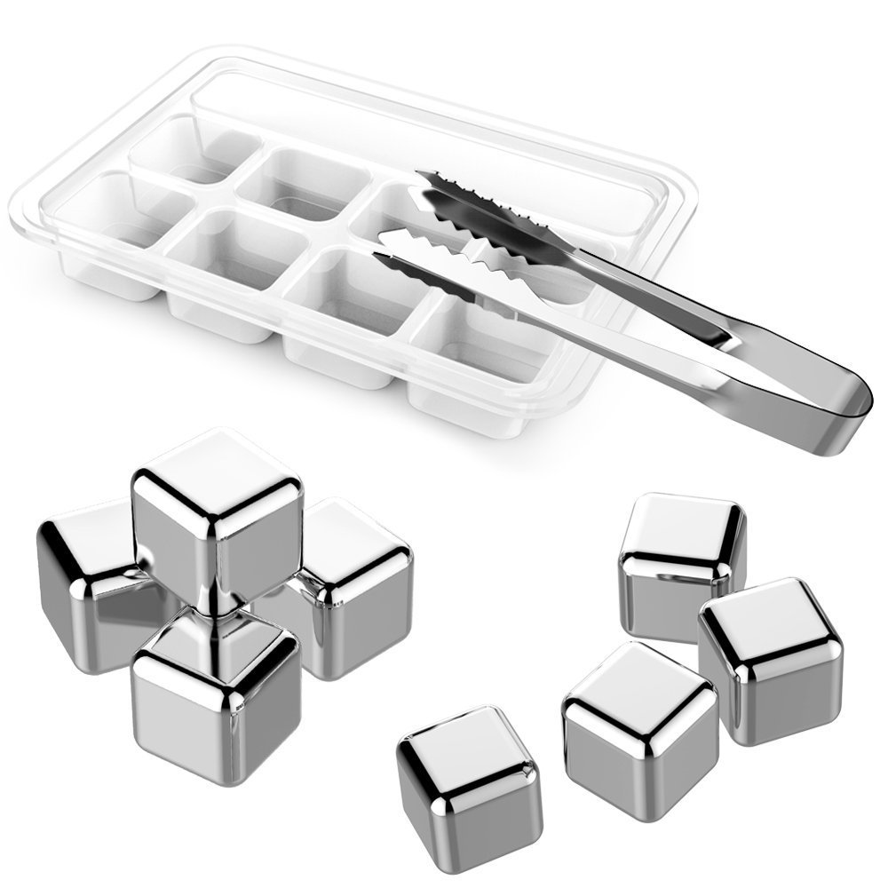 Stainless Steel Whiskey Stone, iRainy Chilling Rocks Reusable Ice Cubes for Cooling Wine Drinks Beverage (8 PCS Whiskey Stones)