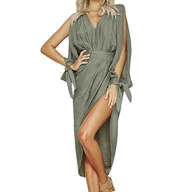 Vestiti Lungo Donna Elegante LandFox Sexy donne scollo a V con spacco  irregolare legato maniche al 76112ccced4