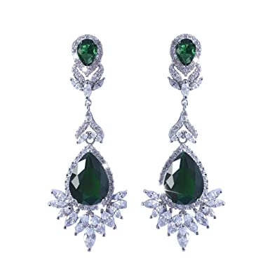 f555ea903 Image Unavailable. Image not available for. Color: White Gold Plated Deco  AAA Emerald Green Cubic Zirconia Dangle Drop Earrings Fashion Jewelry for  Women