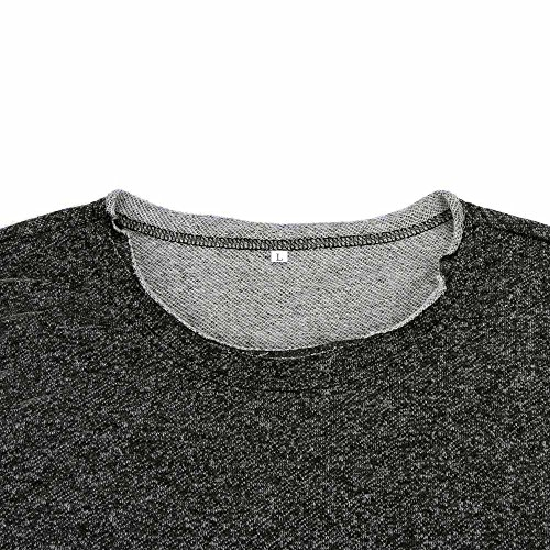 shirt Trou Casual Tees Mode Blouse Simple T Courte Rond Col Chemise Hommes Amlaiworld Gris Manche Iw05qzx