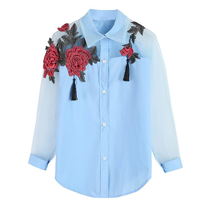 Moda Camiseta Mujer Color Bordado de Flores Ahuecar Blusa con Botones Manga Larga T-Shirt