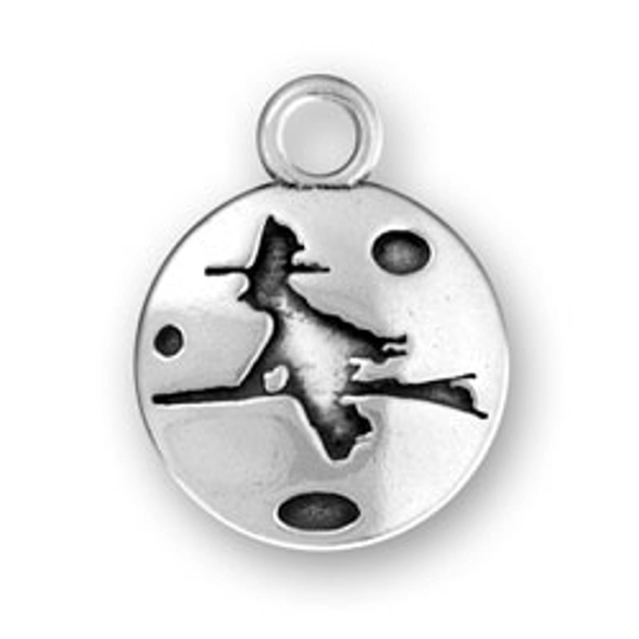 Sterling Silver 7 4.5mm Charm Bracelet With Attached Witch On Flying Broom Circle Charm