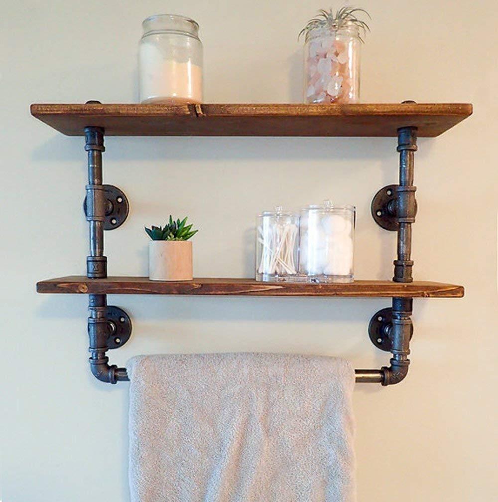 Bon FOF Industrial Retro Wall Mount Pipe Bathroom Shelf,Bathroom Towel,Cloth  Holder,Reclaimed Wood Pipe Shelf Pipe Shelves And Towel Holder,Floating  Shelves ...