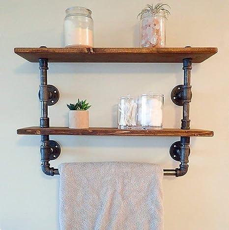 . FOF Industrial Retro Wall Mount Pipe Bathroom Shelf Bathroom Towel Cloth  Holder Reclaimed Wood pipe shelf Pipe shelves and Towel Holder Floating