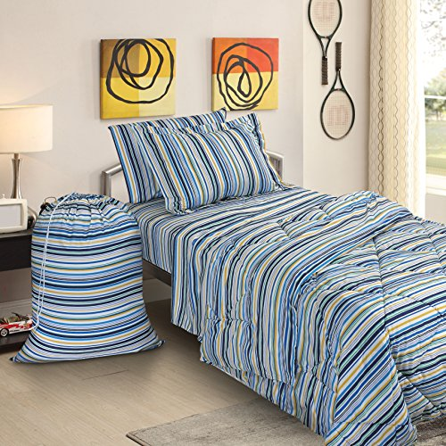 Clara Clark College Dorm Room Bed in a Bag Set, Twin X-Large, Striped, 6 Piece