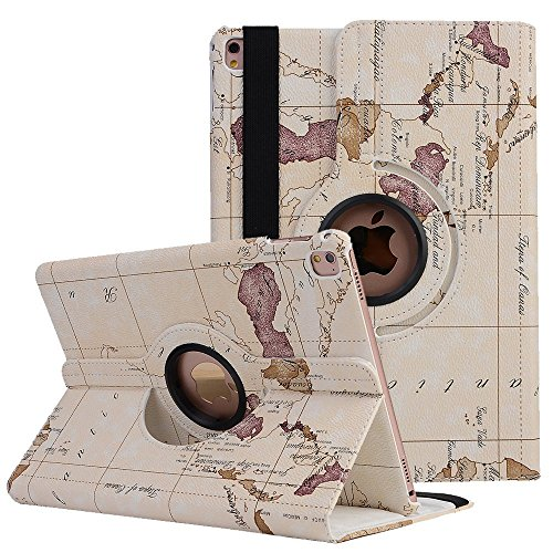 MeiLiio iPad air 2 Folio Case- Map pattern,[Corner Protection] Flip Stand, Premium PU Leather, Slim Protective, Hard High Impact Bumper Cover Case By (iPad air 2,White)